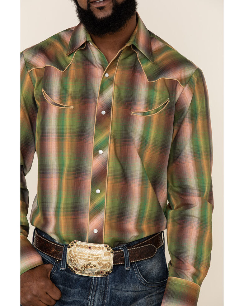 Roper Men's Green Ombre Plaid Fancy Yoke Long Sleeve Western Shirt , Green, hi-res