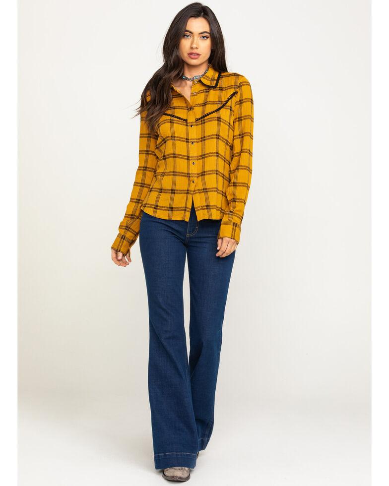 Shyanne Women's Mustard Ruffle Plaid Shirt , Dark Yellow, hi-res