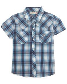 Cumberland Outfitters Girls' Turquoise Plaid Snap Short Sleeve Western Shirt, Turquoise, hi-res