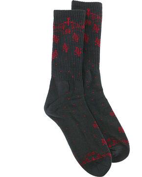 BR4SS Men's Paisley Print Premium Socks, Black/red, hi-res