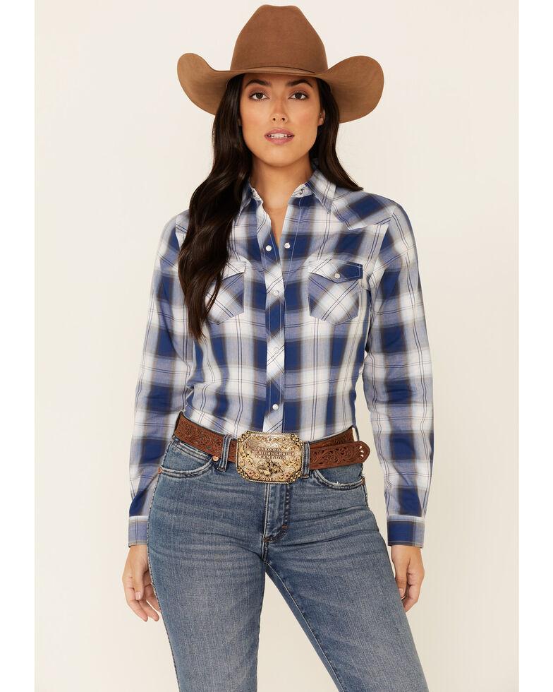 Roper Women's Blue Classic Plaid Long Sleeve Snap Western Shirt , Blue, hi-res