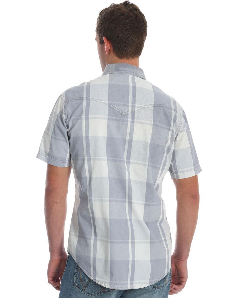 Wrangler Retro Men's Grey Plaid Premium Long Sleeve Western Shirt , Grey, hi-res