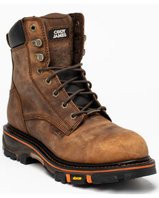 "Cody James Men's 8"" Decimator Work Boots - Composite Toe, Brown, hi-res"