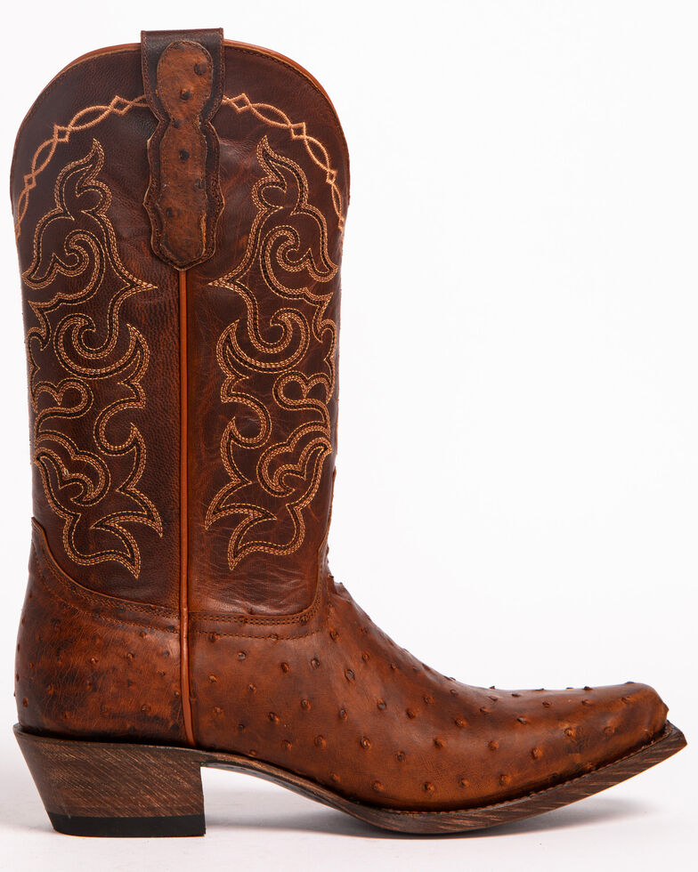 Shyanne Women's Full Quill Ostrich Exotic Boots - Snip Toe, Brown, hi-res