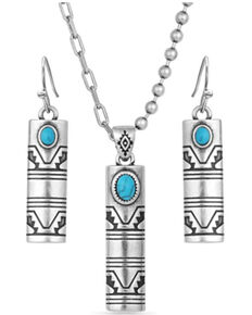 Montana Silversmiths Women's Western Stonehenge Buffed Jewelry Set, Silver, hi-res