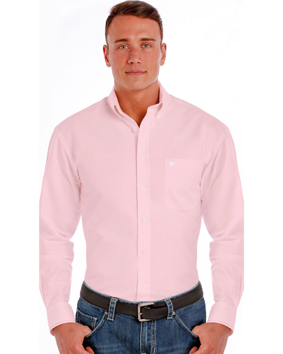 Rough Stock by Panhandle Men's Pink Button Down Long Sleeve Shirt, Pink, hi-res