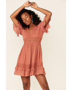 Wishlist Women's Brick Lace Trim Mini Dress, Rust Copper, hi-res