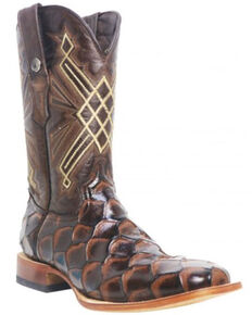 Tanner Mark Men's Monster Fish Print Western Boots - Wide Square Toe, Brown, hi-res