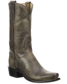 Lucchese Men's Leadville Exotic Goat Skin Western Boots - Narrow Square Toe, Black, hi-res
