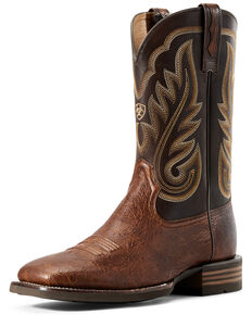 Ariat Men's Promoter Matte Smooth Ostrich Western Boots - Wide Square Toe, Brown, hi-res