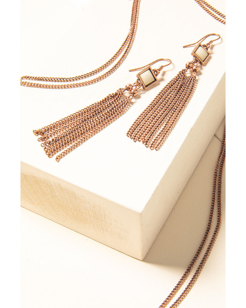 Shyanne Women's Desert Dreams Copper Square Fringe Jewelry Set , Rust Copper, hi-res
