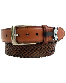 Danbury Men's Leather Braided Belt - Big, Tan, hi-res