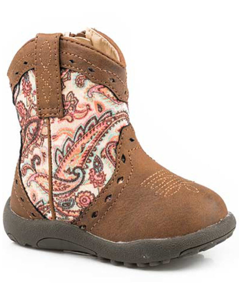 Roper Toddler Girls' Glitter Geo Print Western Boots - Round Toe, Brown, hi-res