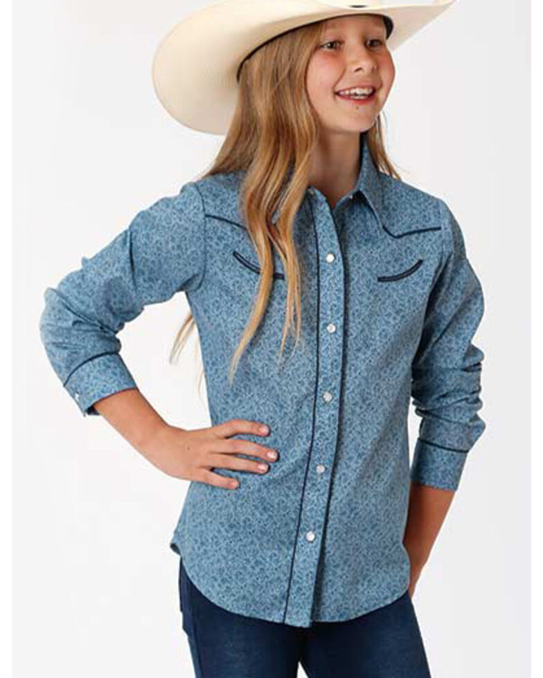 Karman Girls' Blue Floral Snap Long Sleeve Western Shirt, Blue, hi-res