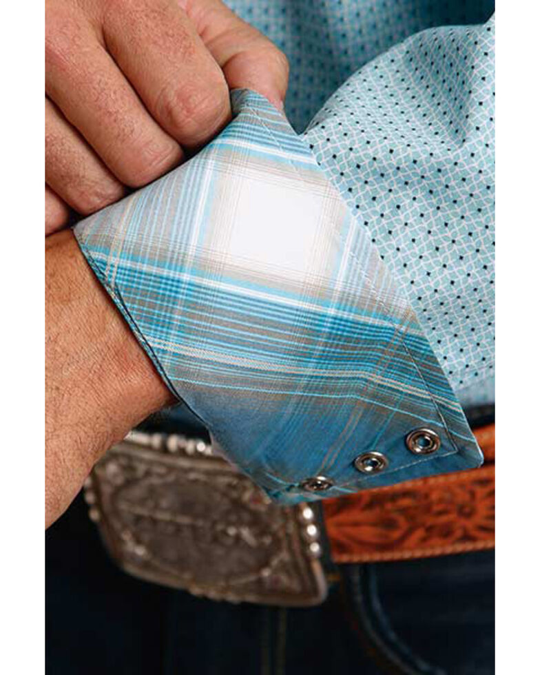 Stetson Men's Geo Lattice Print Long Sleeve Western Shirt , Blue, hi-res