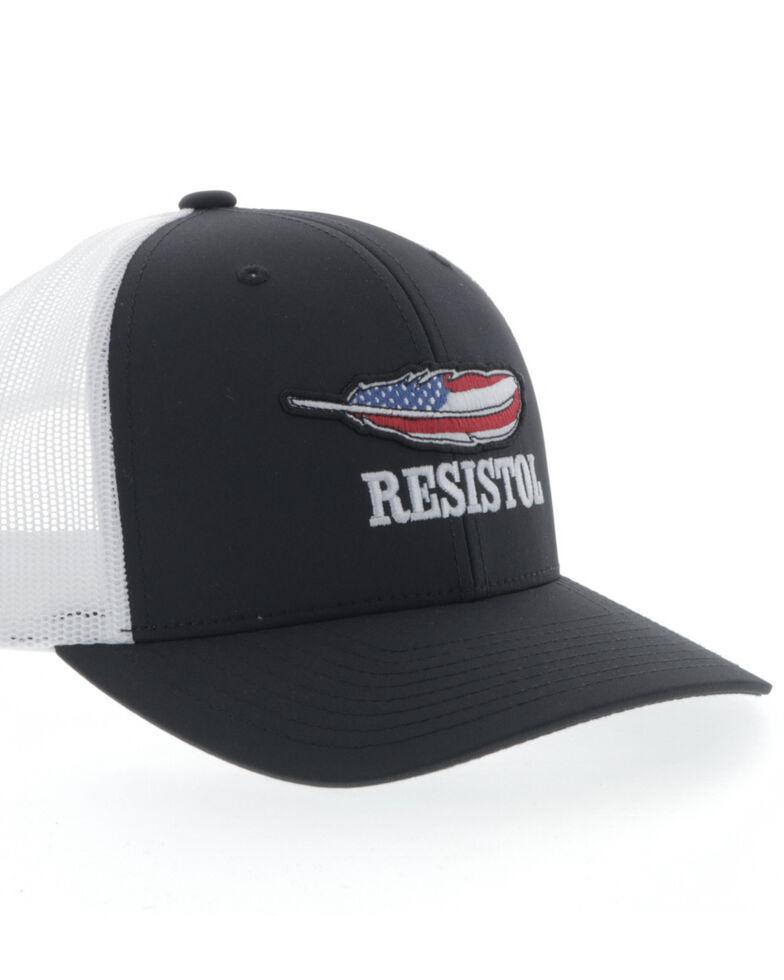 HOOey Men's Black Resistol American Flag Patch Ball Cap , Black, hi-res