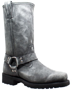 RideTecs Men's Stonewashed Harness Western Boots - Square Toe, Black, hi-res