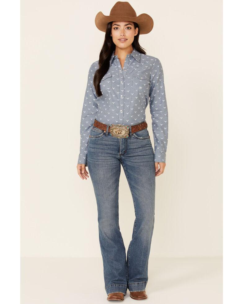 Roper Women's Longhorn Oxford Print Long Sleeve Western Snap Western Shirt, Blue, hi-res
