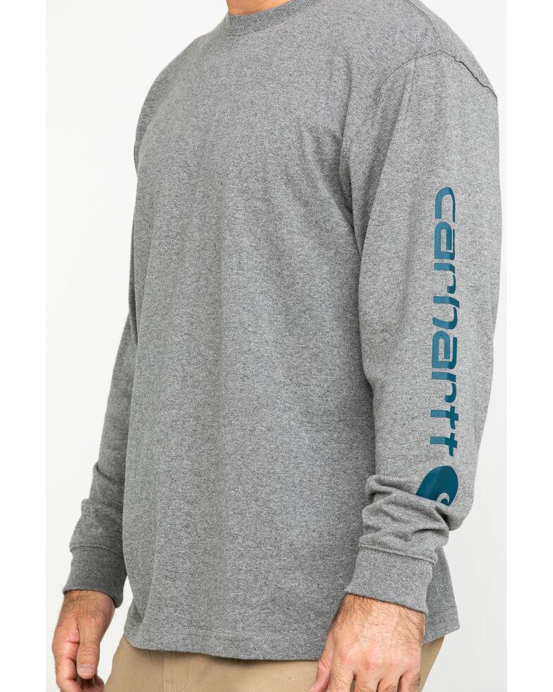 Carhartt Men's Signature Logo Long Sleeve Knit Work T-Shirt , Grey, hi-res