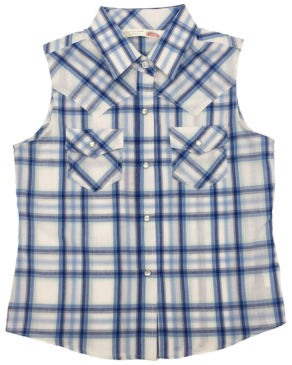 Cumberland Outfitters Girls' Assorted Plaid Sleeveless Western Shirt, Multi, hi-res