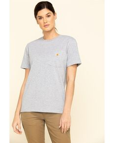 Carhartt Women's Chest Pocket Sleeve Work T-Shirt - Plus, Grey, hi-res