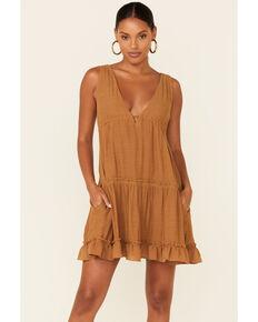 Wishlist Women's Deep Neck Babydoll Tiered Dress, Cognac, hi-res