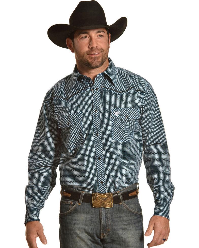 Cowboy Hardware Men's Maze Blue Print Long Sleeve Western Snap Shirt, Blue, hi-res