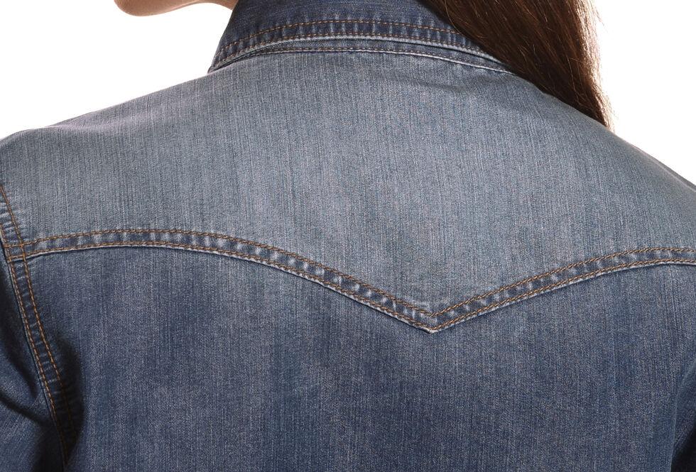 Wrangler Women's Premium Long Sleeve Denim Shirt, Denim, hi-res