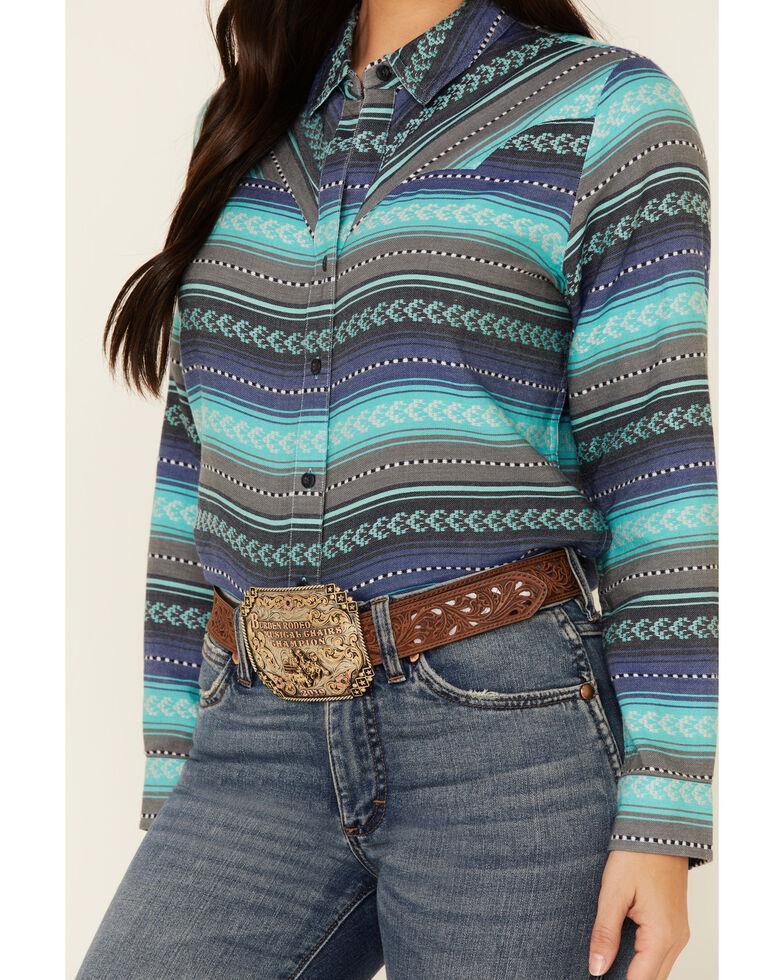 Ariat Women's Teal April Serape Print Long Sleeve Western Core Shirt , Teal, hi-res