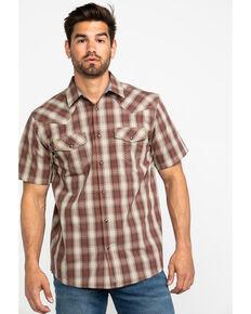 Cody James Men's Minot Plaid Short Sleeve Western Shirt , Lt Brown, hi-res