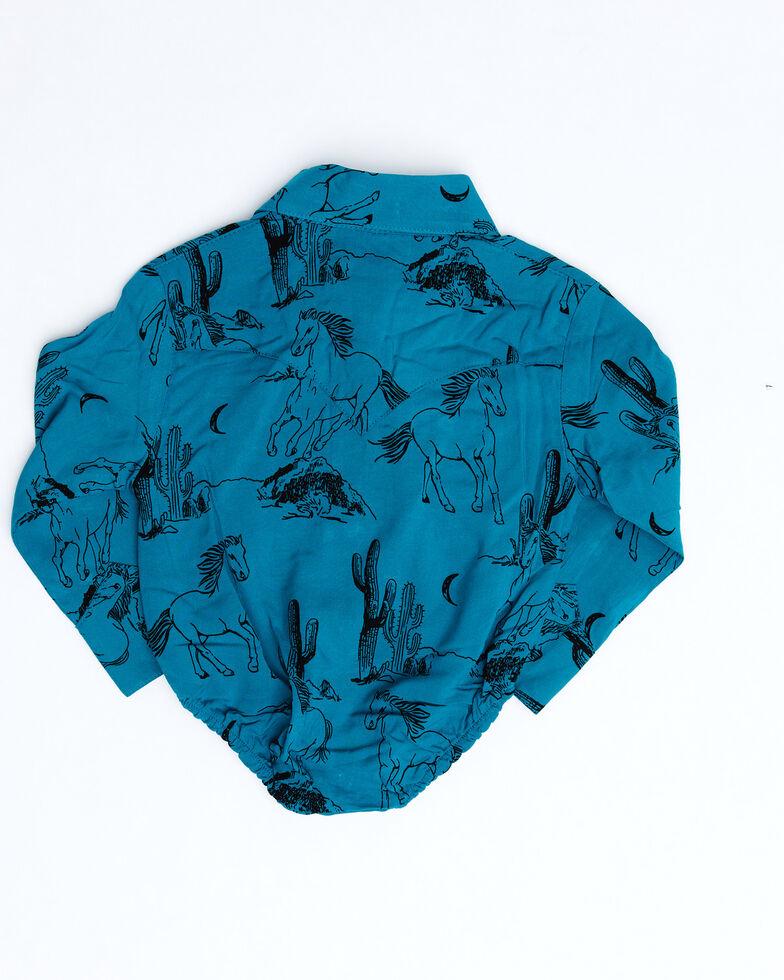 Wrangler Infant Girls' Turquoise Horse Print Long Sleeve Onesie , Turquoise, hi-res