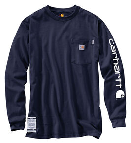 Carhartt Flame Resistant Force Cotton Graphic Long Sleeve Shirt - Big & Tall, Navy, hi-res