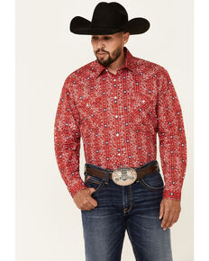 Rough Stock By Panhandle Men's Red Aztec Paisley Print Long Sleeve Snap Western Shirt , Red, hi-res