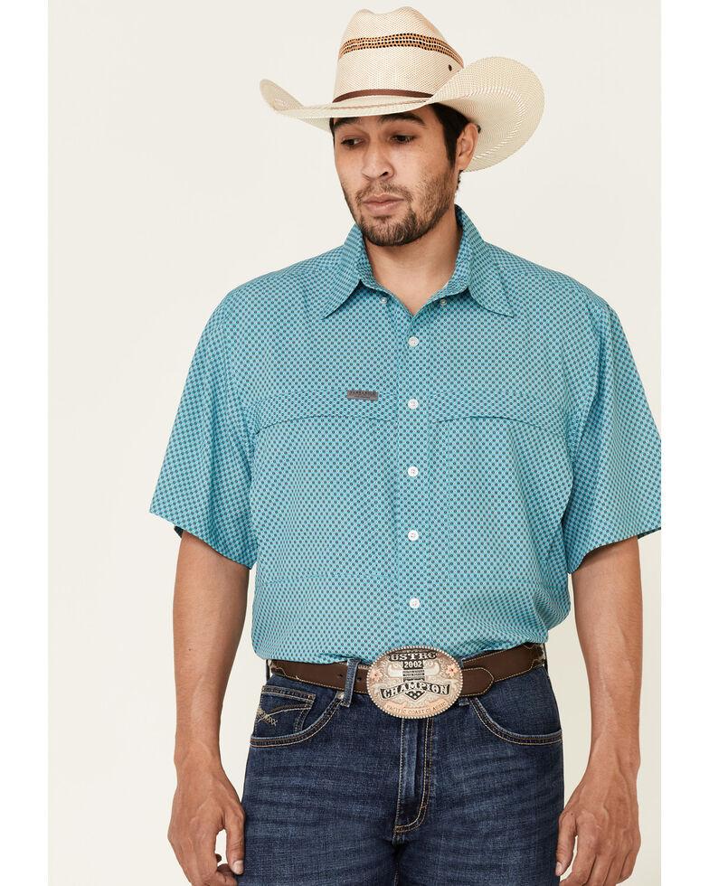 Panhandle Men's Jade Geo Print Competition Short Sleeve Western Shirt  , Green, hi-res