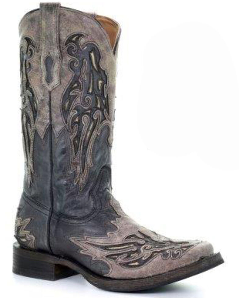 Corral Men's Inlay & Embroidery Western Boots - Square Toe, Charcoal, hi-res