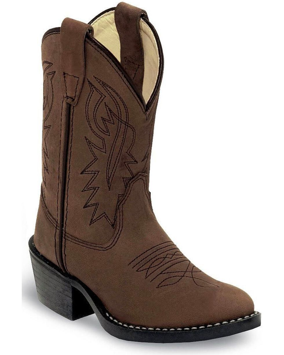 Old West Children Boys' Distressed Cowboy Boots - Round Toe , Distressed, hi-res