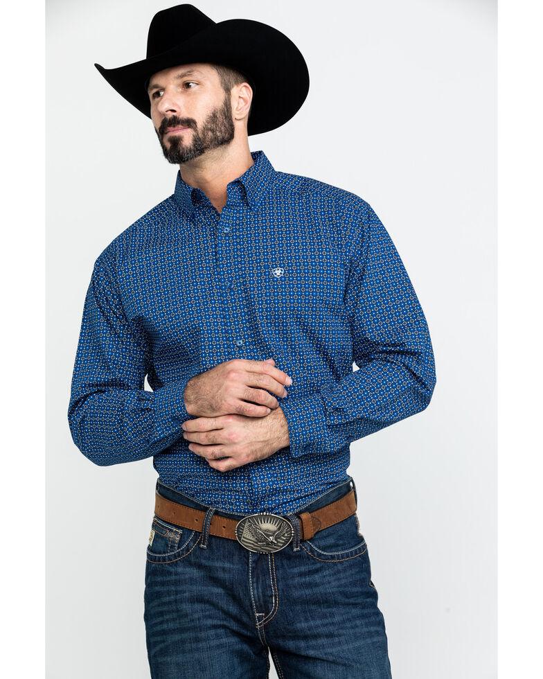 Ariat Men's Bainton Geo Print Long Sleeve Western Shirt , Blue, hi-res