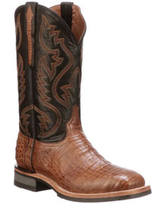 Lucchese Men's Rowdy Western Boots - Square Toe, Tan, hi-res