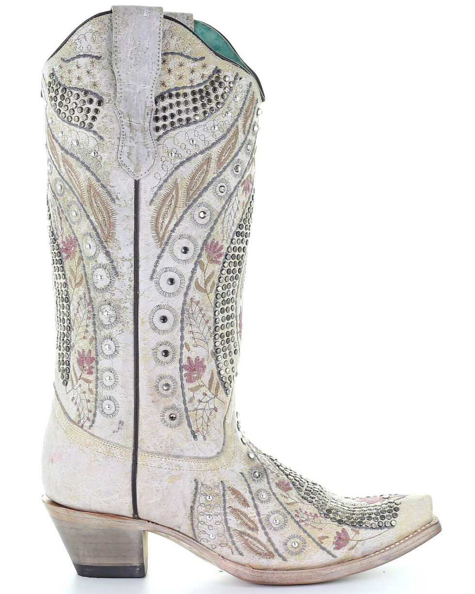 Corral Women's Crystal Floral Embroidery Western Boots - Snip Toe, Ivory, hi-res