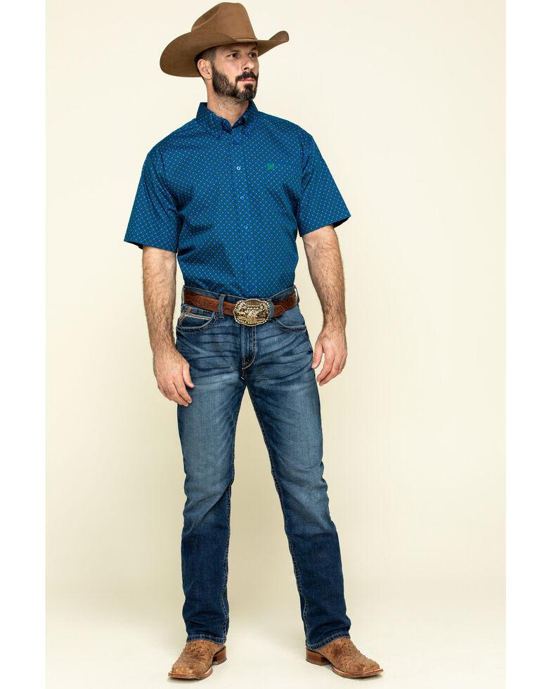 Cinch Men's Royal Blue Geo Print Short Sleeve Western Shirt , Blue, hi-res