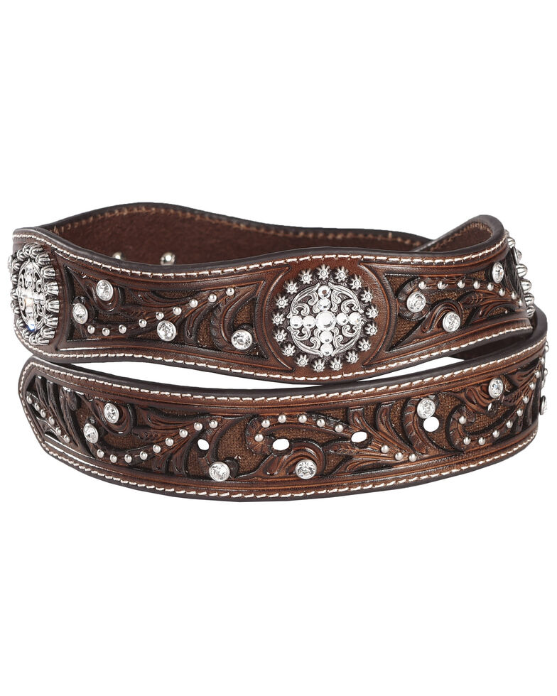 Ariat Scalloped Hand Tooled & Embellished Western Belt, Brown, hi-res