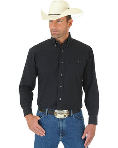 George Strait by Wrangler Men's Black Solid Long Sleeve Western Shirt, Black, hi-res