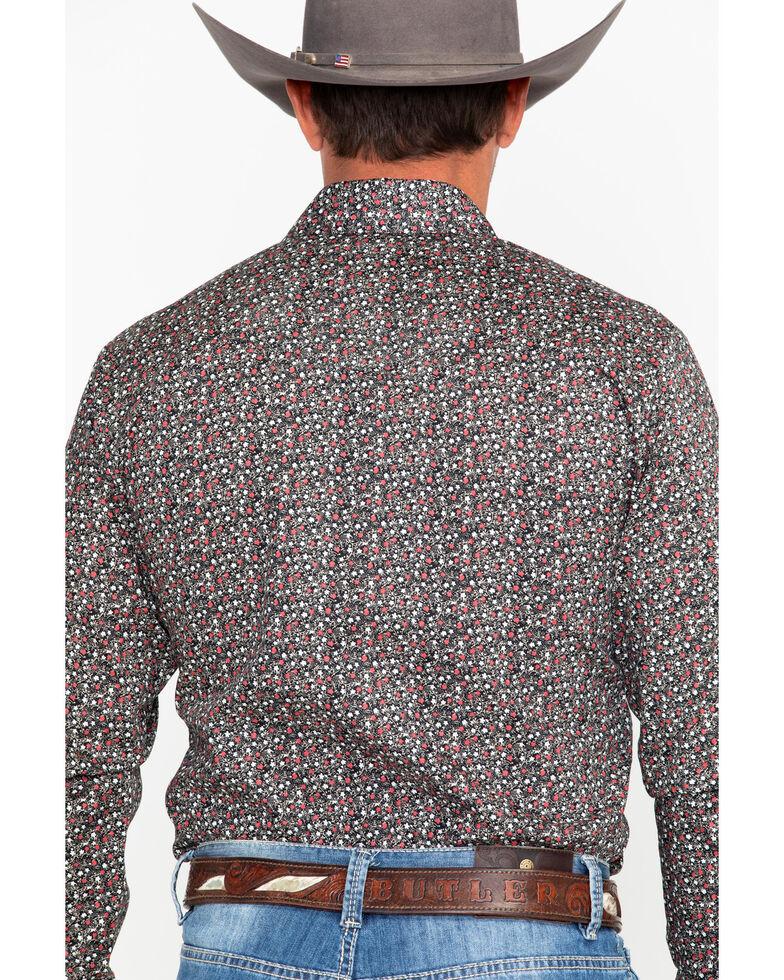 Roper Men's Black Floral Print Snap Long Sleeve Western Shirt , Black, hi-res