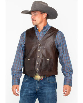 Outback Trading Men's Wynard Button Pocket Vest , Brown, hi-res