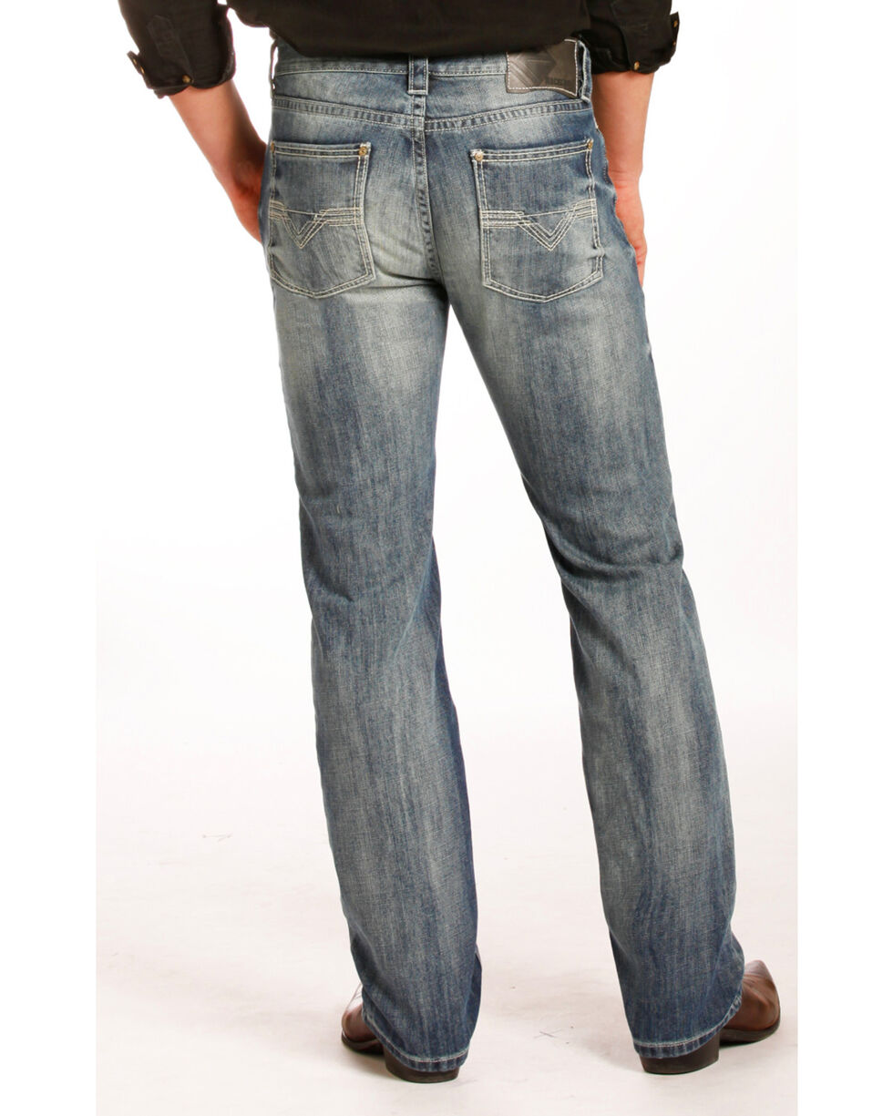 Rock & Roll Cowboy Men's Revolver Slim Jeans - Straight Leg , Blue, hi-res
