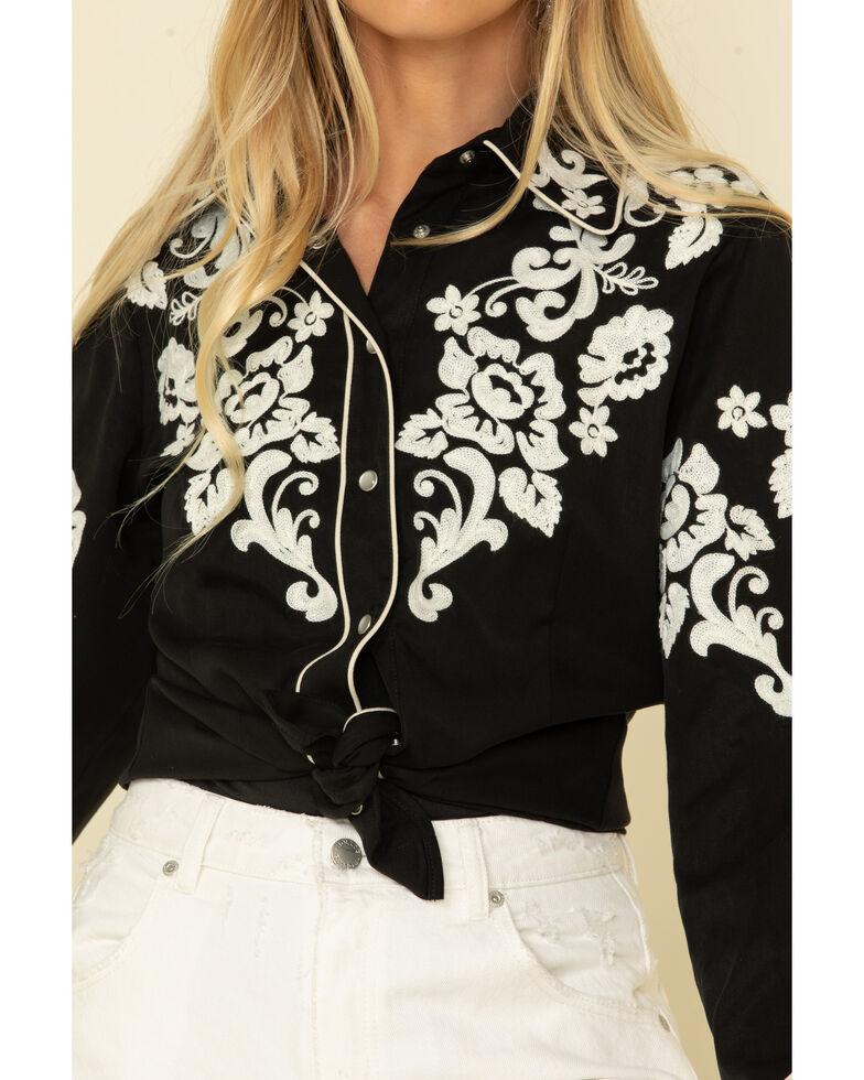 H Bar C Women's Black Fort Worth Long Sleeve Western Shirt, Black, hi-res