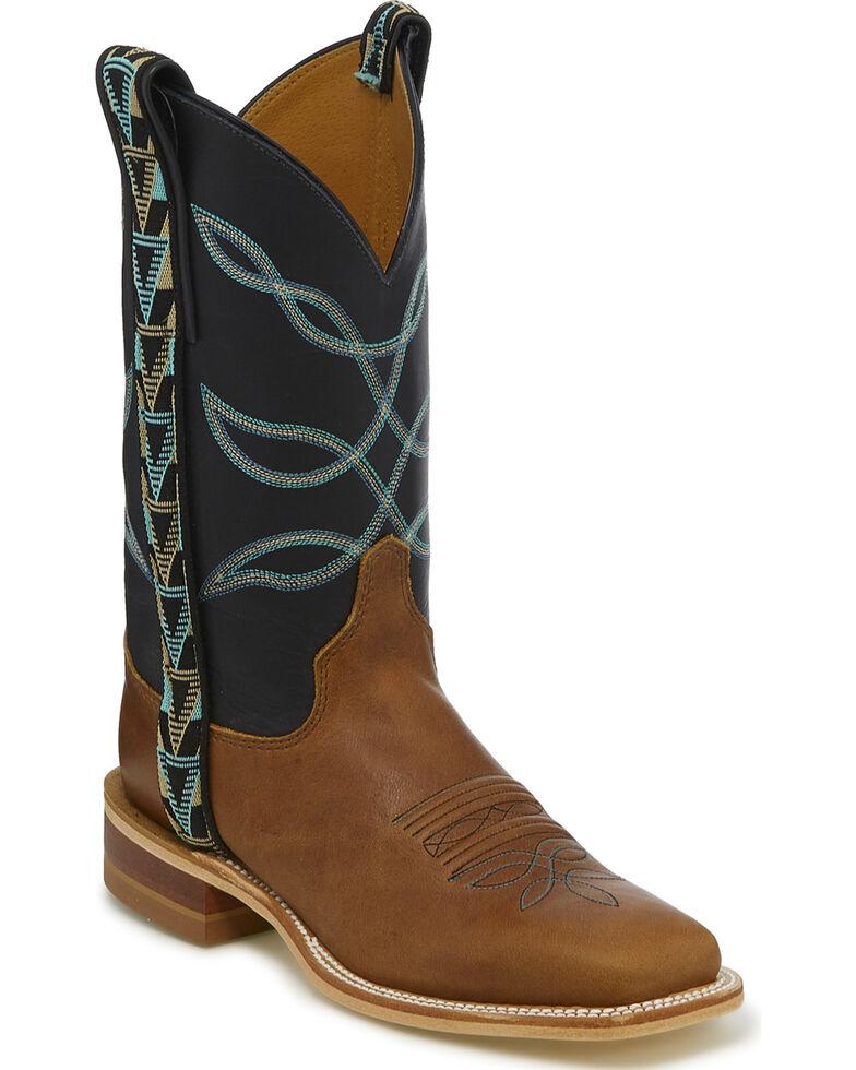 Justin Bent Rail Women's Aransas American Textile Ribbon Cowgirl Boots - Square Toe, Tan, hi-res