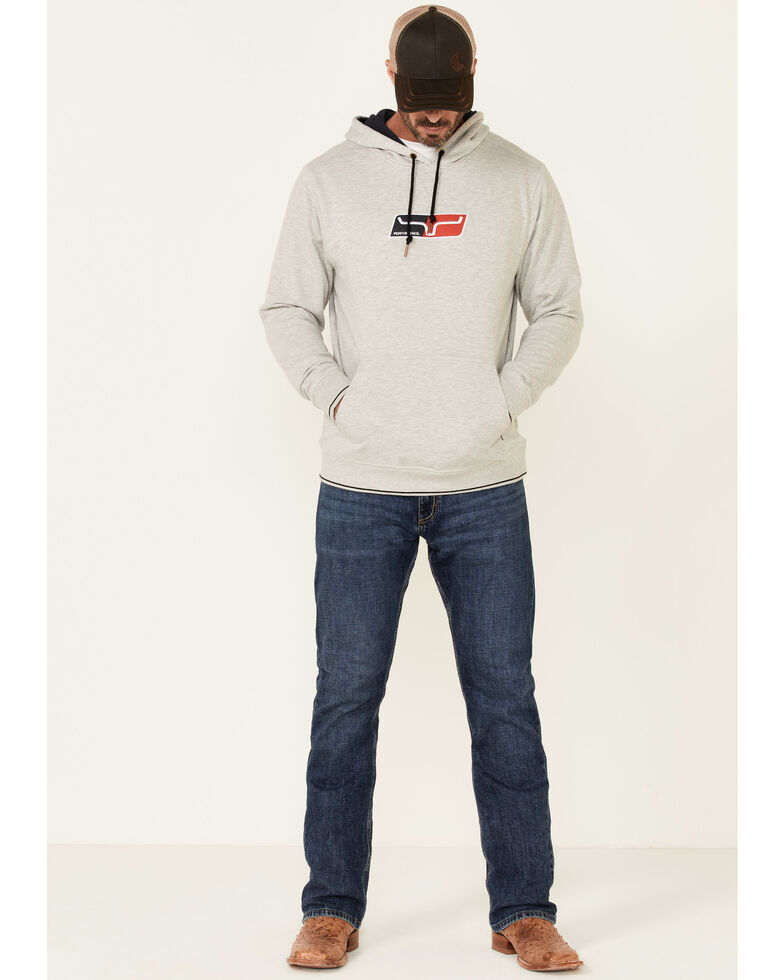 Kimes Ranch Men's Heather Grey Alta Performance Hooded Sweatshirt , Heather Grey, hi-res