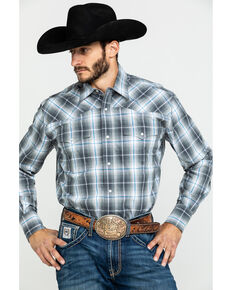 Roper Men's Amarillo Moonlight Ombre Plaid Long Sleeve Western Shirt , Blue, hi-res