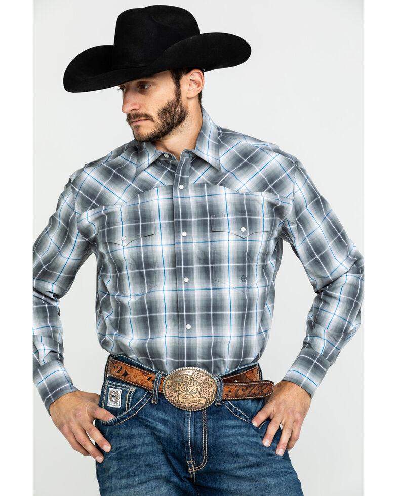 Roper Men's Amarillo Moonlight Ombre Plaid Long Sleeve Western Shirt , Blue, hi-res